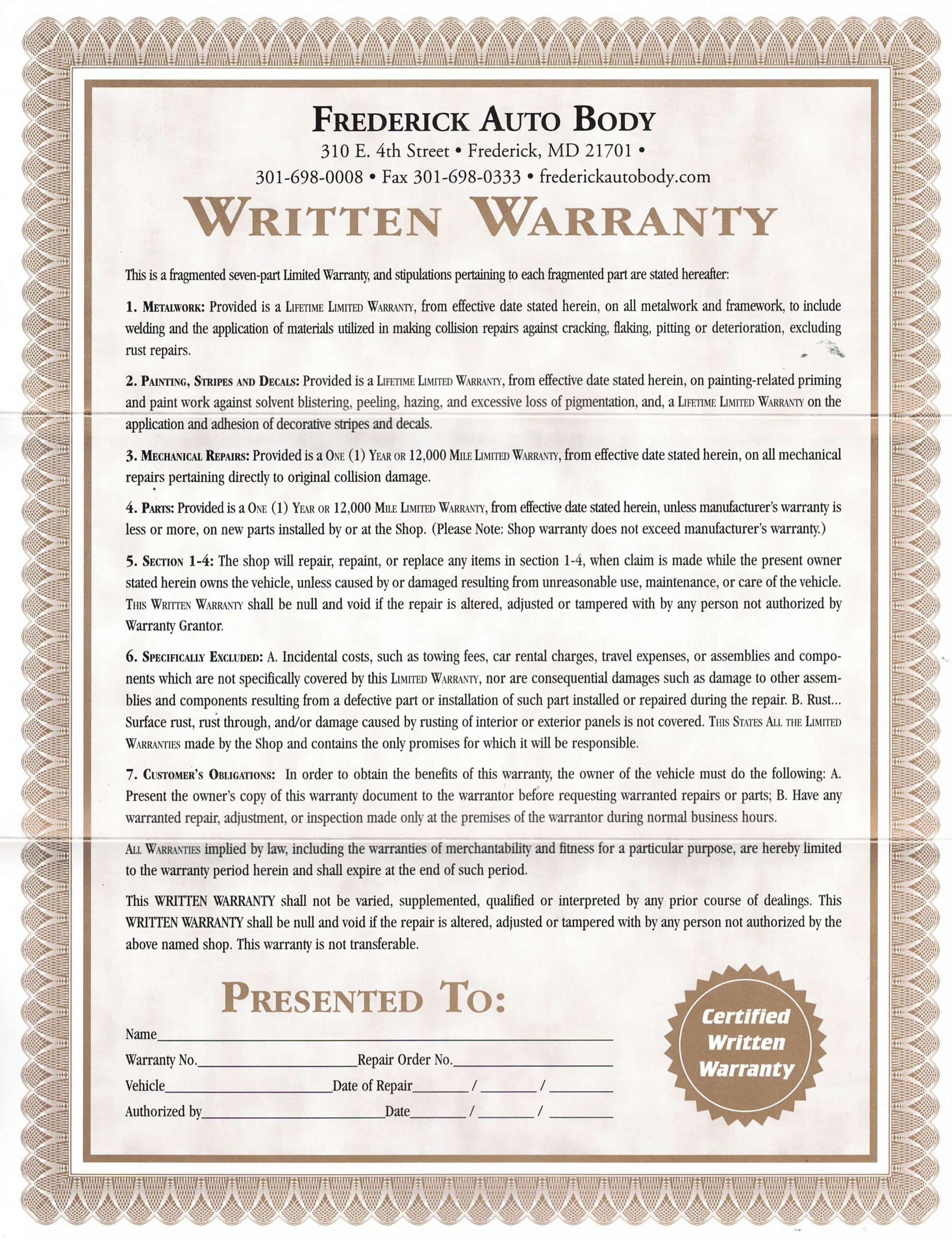 Frederick Auto Body Lifetime Warranty